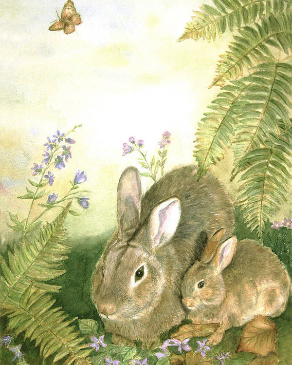 Bunnies Poster featuring the painting Nesting Bunnies by Patricia Pushaw