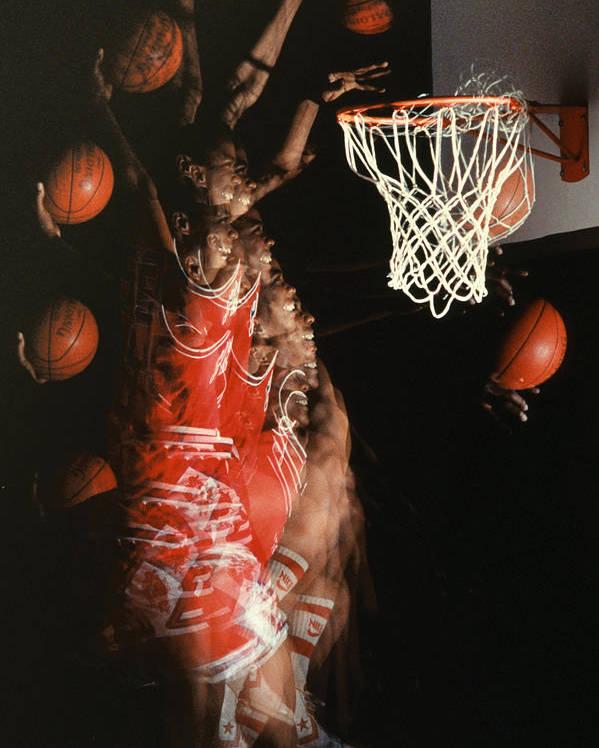 Sport; Sports; Basketball; Player; Effort; Ball; Basket; Dunk; Jump; Jumping; Skill; Game; Games; Basket Ball; Hoop; Round Ball; Net; Swish; Man; Boy; Black; African American; African-american Poster featuring the photograph Net Fever by Gerard Fritz