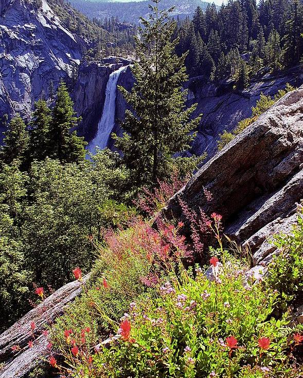 Nevada Falls Poster featuring the photograph Nevada Falls Yosemite National Park by Alan Lenk