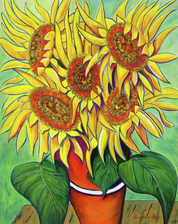 Sunflowers Poster featuring the painting Never Enough Sunflowers by Andrea Folts