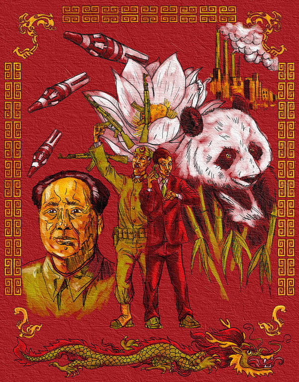 China Panda Missles Factories Dragon Flower Guns Bamboo Poster featuring the painting New China by Baird Hoffmire