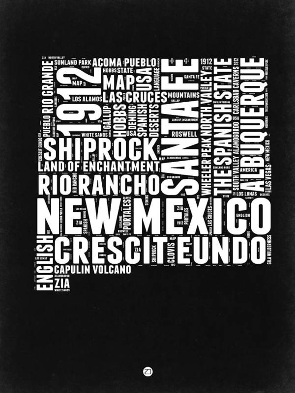 new mexico black and white word cloud map poster by naxart studio