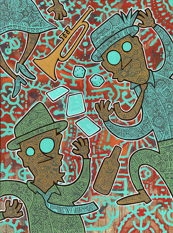 Folk Art Poster featuring the painting New Orleans Voodoo by Nicklos Richards