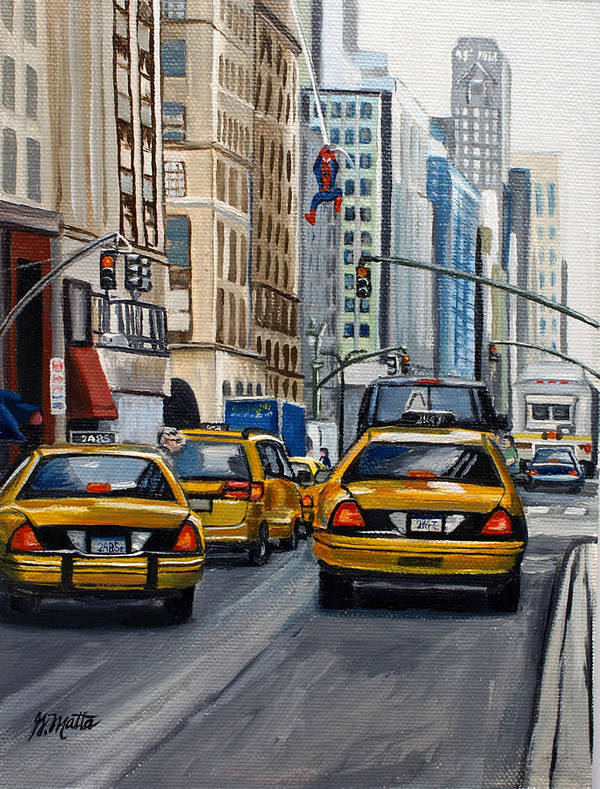 Cityscape Poster featuring the painting New York City by Gretchen Matta