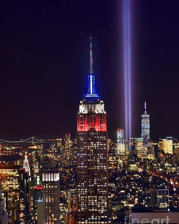New York City Skyline At Night Poster featuring the photograph New York City Tribute In Lights Empire State Building Manhattan At Night Nyc by Jon Holiday