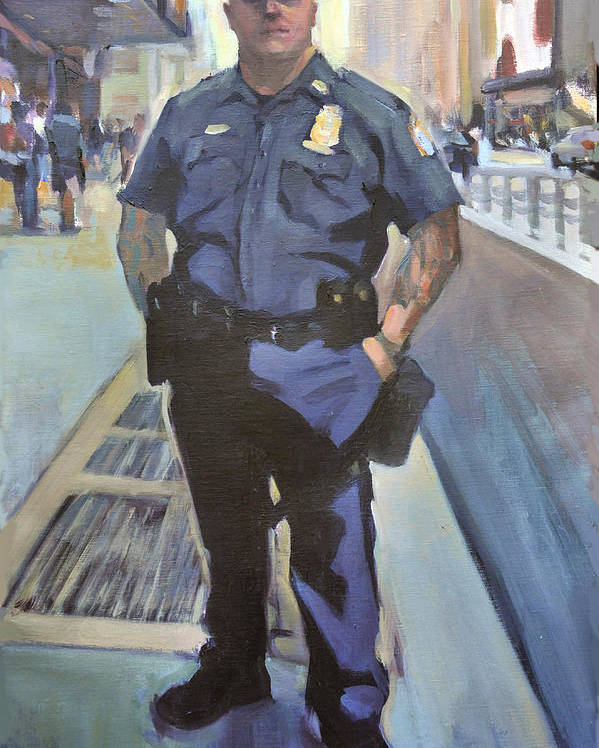 Cop On The Beat.new York Policeman Poster featuring the painting New York by Merle Keller