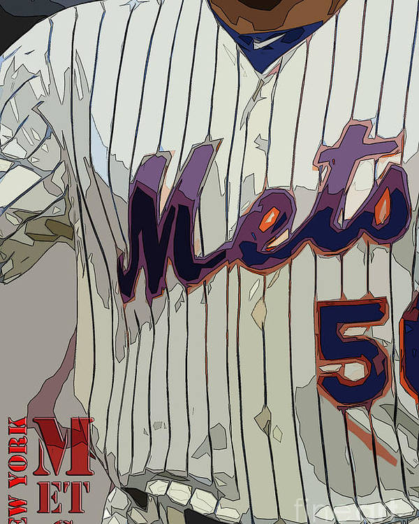 Mets Poster featuring the painting New York Mets Baseball Team And New Typography by Drawspots Illustrations