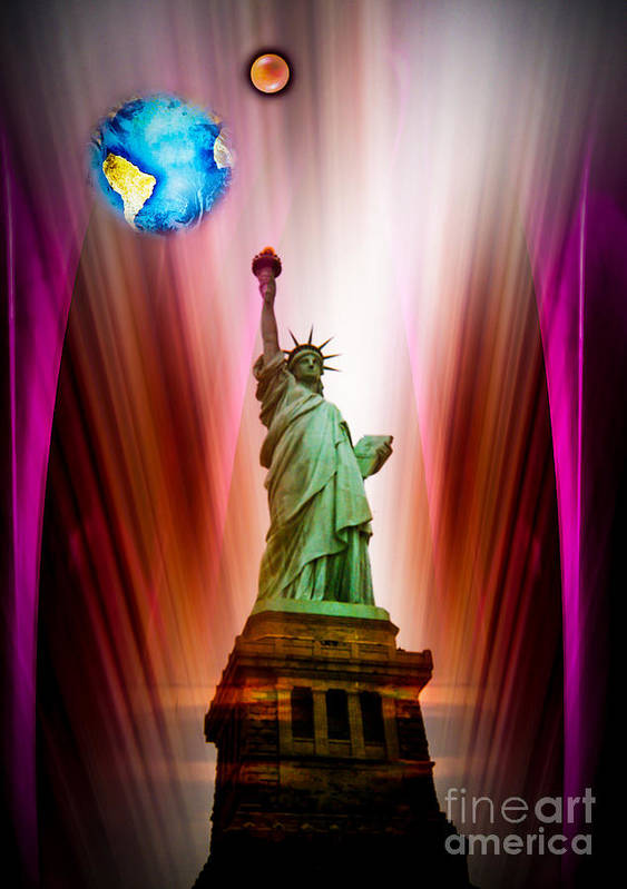 New York Poster featuring the painting New York Nyc - Statue Of Liberty 2 by Walter Zettl