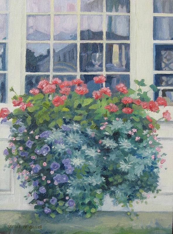Leslie Mcgrath Poster featuring the painting Newburyport Window by Leslie Alfred McGrath