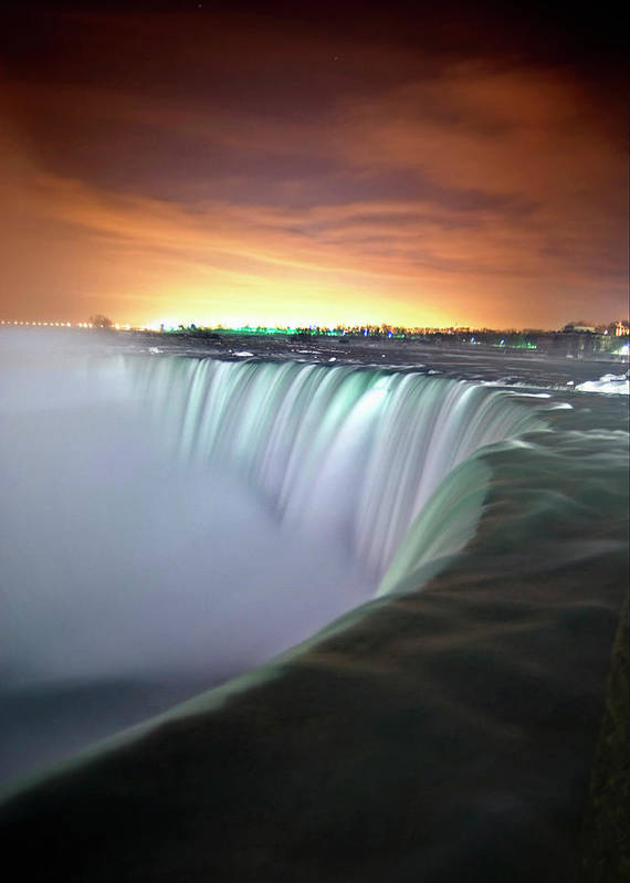Vertical Poster featuring the photograph Niagara Falls By Night by Insight Imaging