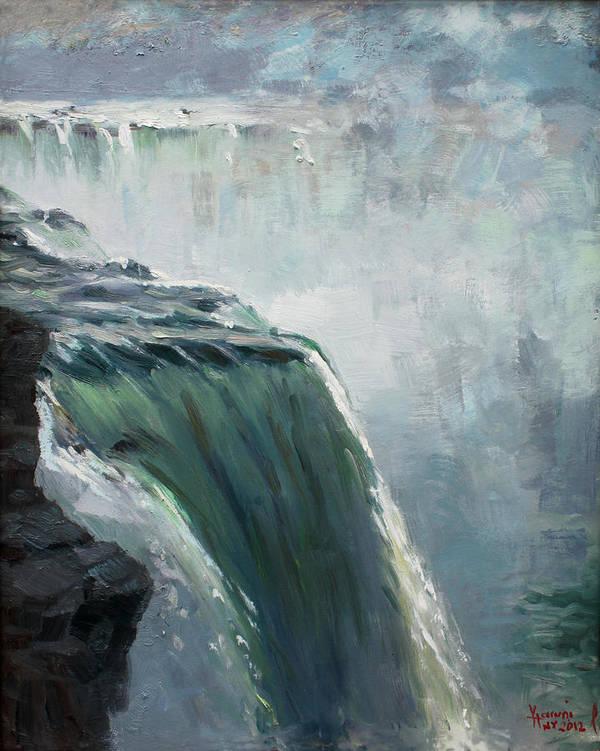 Niagara Falls Ny Poster featuring the painting Niagara Falls Ny by Ylli Haruni