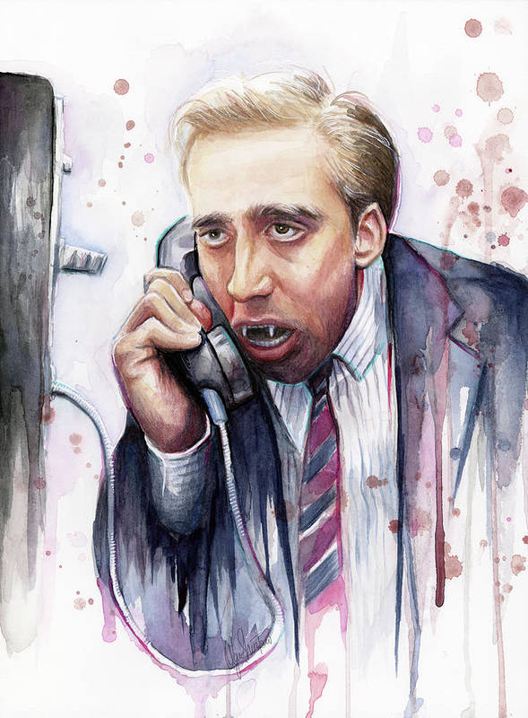 Nicolas Cage Poster featuring the painting Nicolas Cage A Vampire's Kiss Watercolor Art by Olga Shvartsur