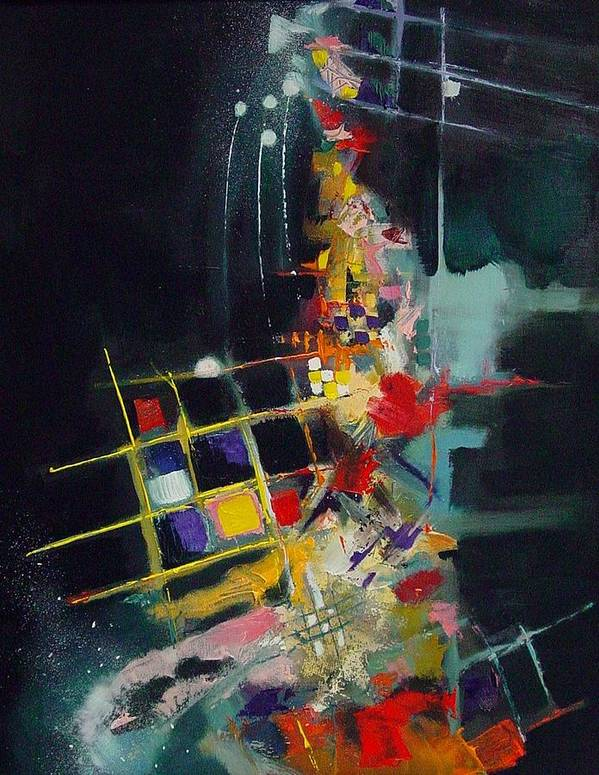 Abstract Poster featuring the painting Night At The Tables by Ronald Dykes