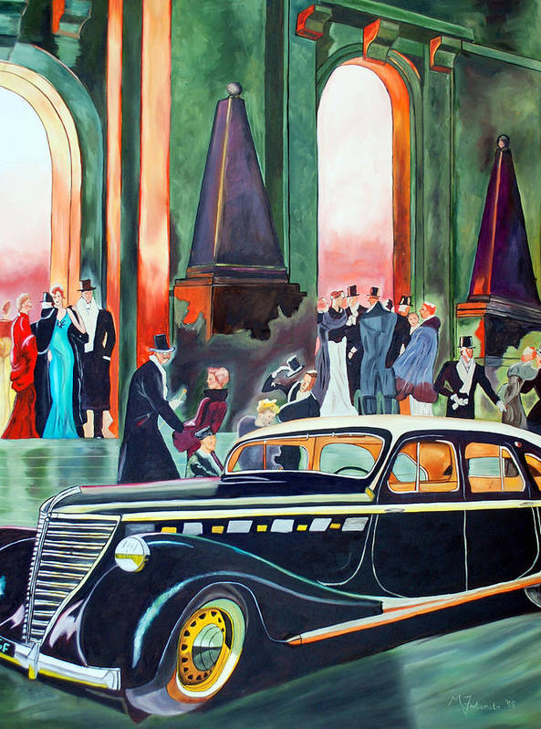 Car Poster featuring the painting Night At The Theater by Margaret Fortunato