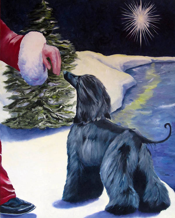 Afghan Hound Poster featuring the painting Night Before Xmas by Terry Chacon