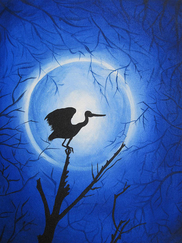 Nature Poster featuring the painting Night Bird by Nandini Dave