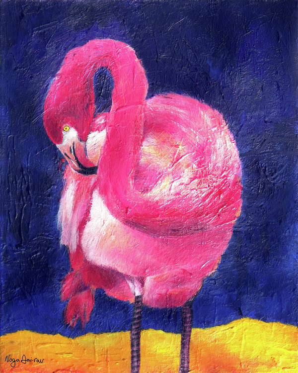 Pink Flamingo Poster featuring the painting Night Flamingo by Noga Ami-rav
