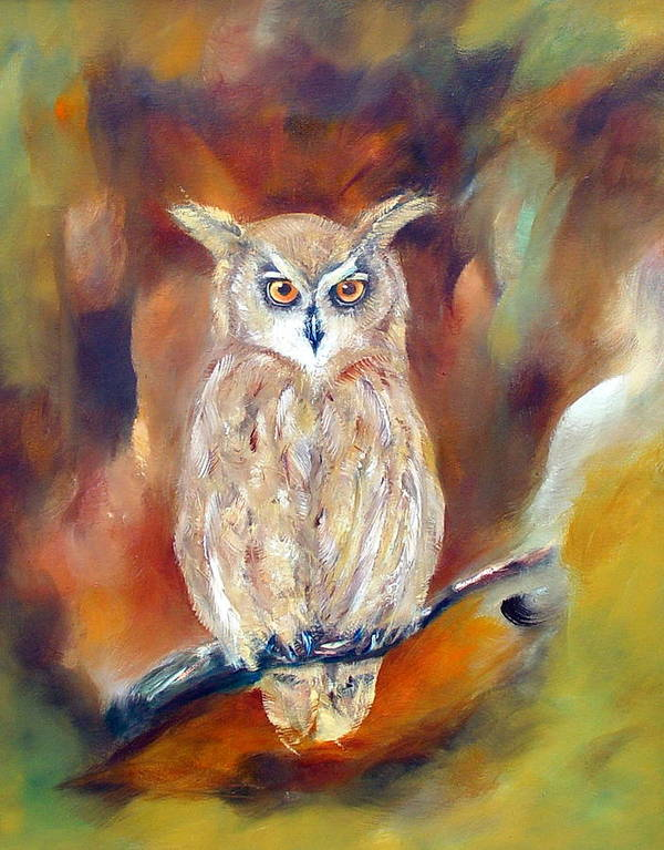 Owl Poster featuring the painting Night Flight by Zoe Landria