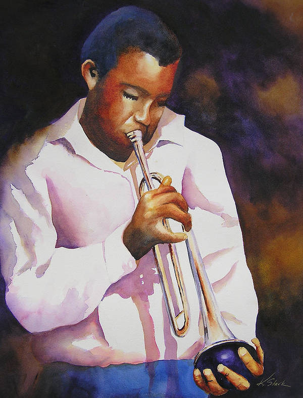 Trumpet Poster featuring the painting Night Music by Karen Stark