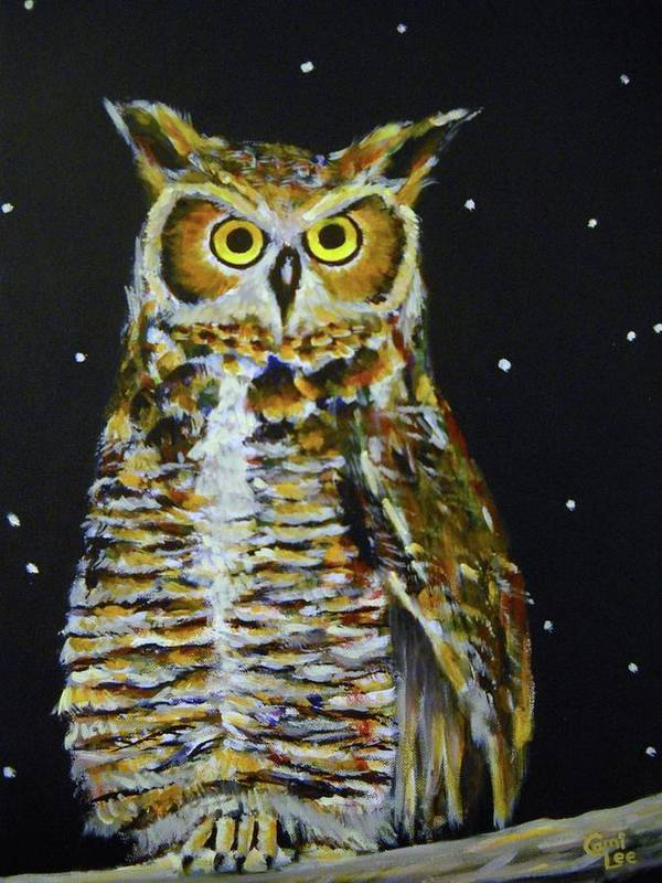 Owl Poster featuring the painting Night Owl by Cami Lee