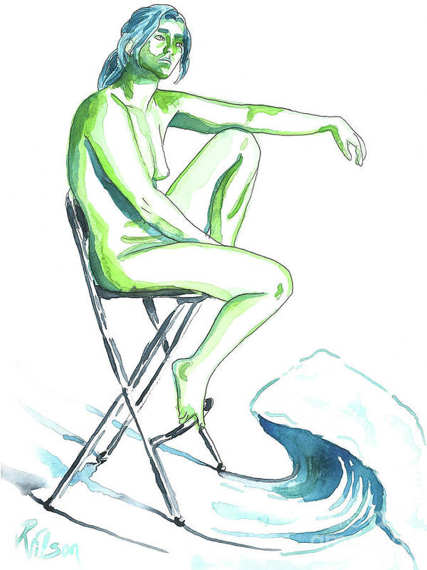 Artistic Nude; Female Nude Poster featuring the painting Wave by D Renee Wilson