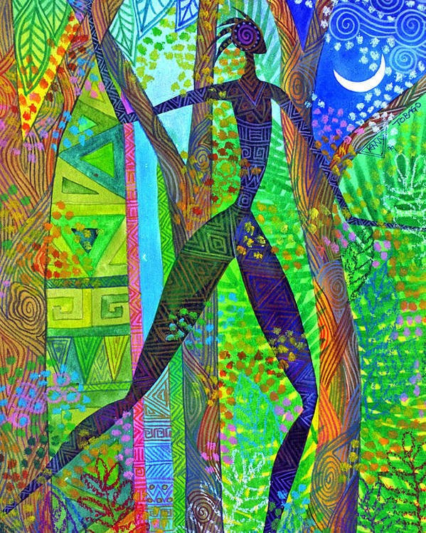 Jungle Tropical Night African Figure Mysterious Poster featuring the painting Night Quest by Jennifer Baird