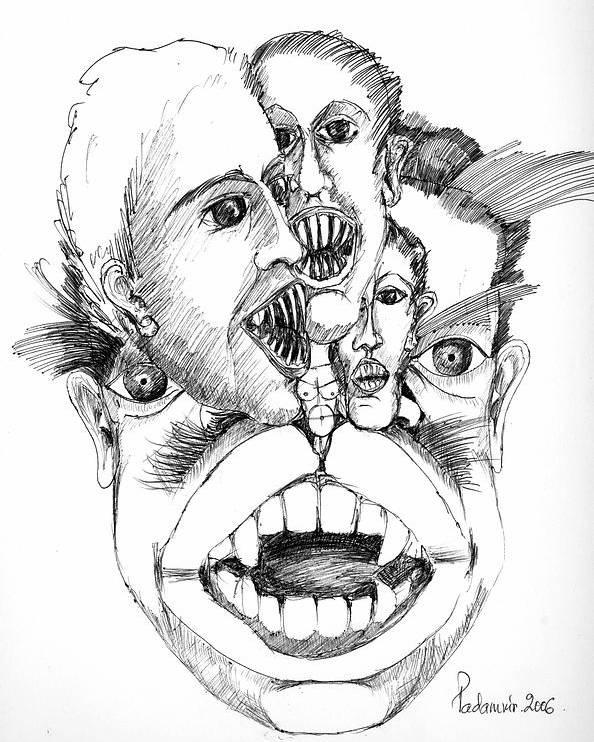 Surreal Poster featuring the drawing Nightmares by Padamvir Singh