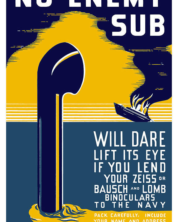 Wwii Poster featuring the painting No Enemy Sub Will Dare Lift Its Eye by War Is Hell Store