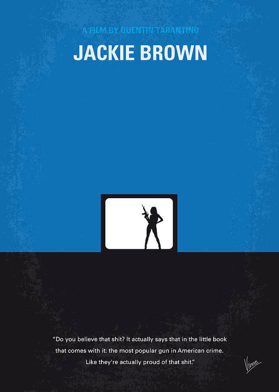 Jackie Poster featuring the digital art No044 My Jackie Brown Minimal Movie Poster by Chungkong Art