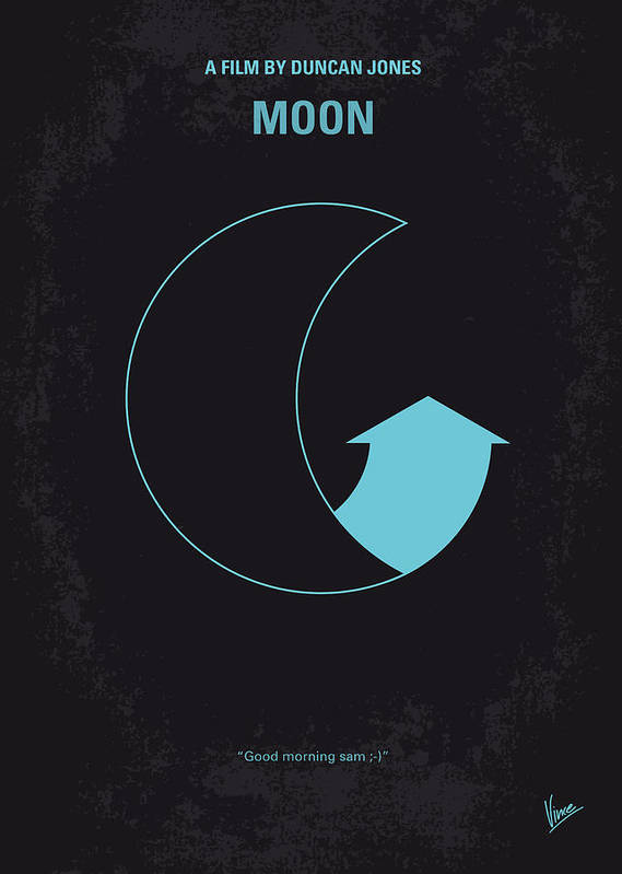 Moon Poster featuring the digital art No053 My Moon 2009 Minimal Movie Poster by Chungkong Art