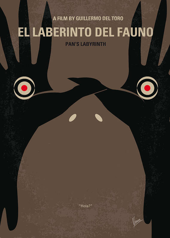 Pans Poster featuring the digital art No061 My Pans Labyrinth Minimal Movie Poster by Chungkong Art