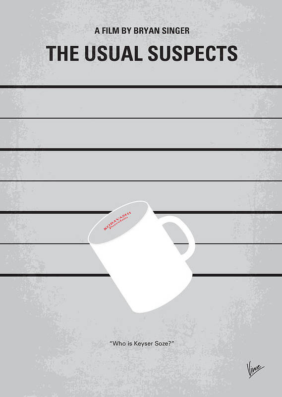 Usual Poster featuring the digital art No095 My The Usual Suspects Minimal Movie Poster by Chungkong Art