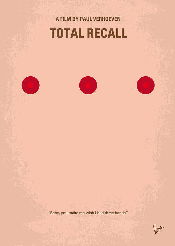 Total Poster featuring the digital art No097 My Total Recall Minimal Movie Poster by Chungkong Art