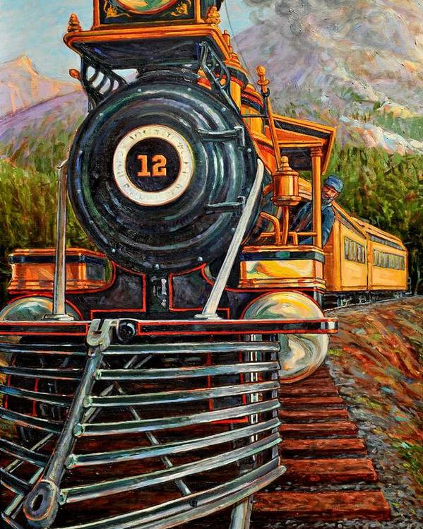 Train Poster featuring the painting No.12 In The Mountains by Gary Symington