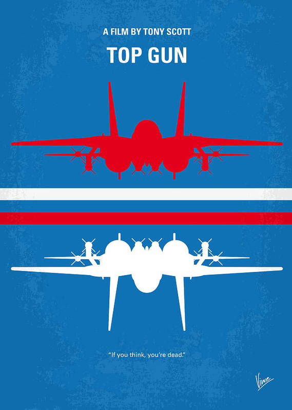Top Poster featuring the digital art No128 My Top Gun Minimal Movie Poster by Chungkong Art