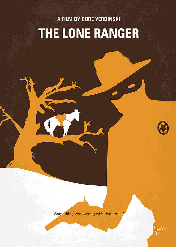 Lone Poster featuring the digital art No202 My The Lone Ranger Minimal Movie Poster by Chungkong Art