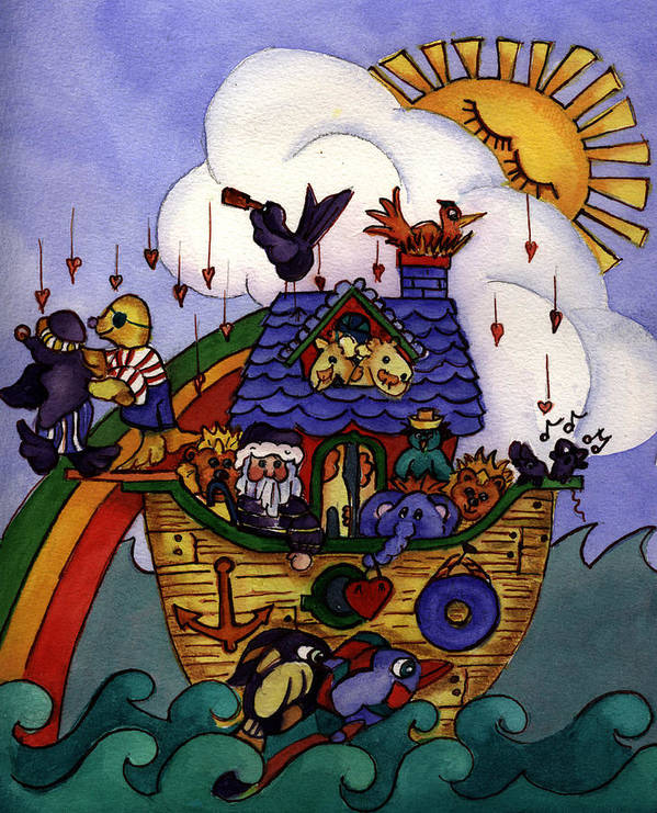 Whimisical Poster featuring the painting Noah's Ark by Patricia Halstead