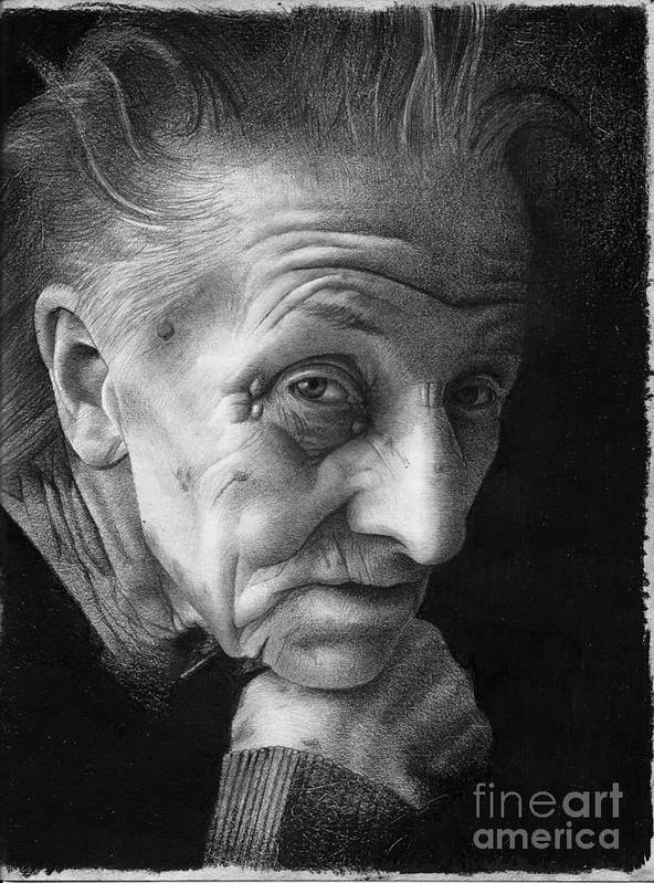 Graphite Poster featuring the drawing Nonna by David Vanderpool