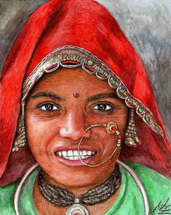 Woma Poster featuring the painting Northindian Woman by Nicole Zeug