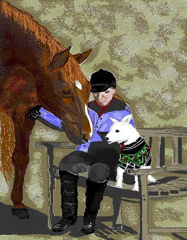 Horses Poster featuring the digital art Nose To Nose by Carole Boyd