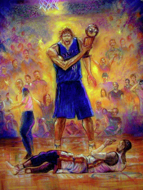 Basketball Poster featuring the pastel Not This Time by Tommy Winn