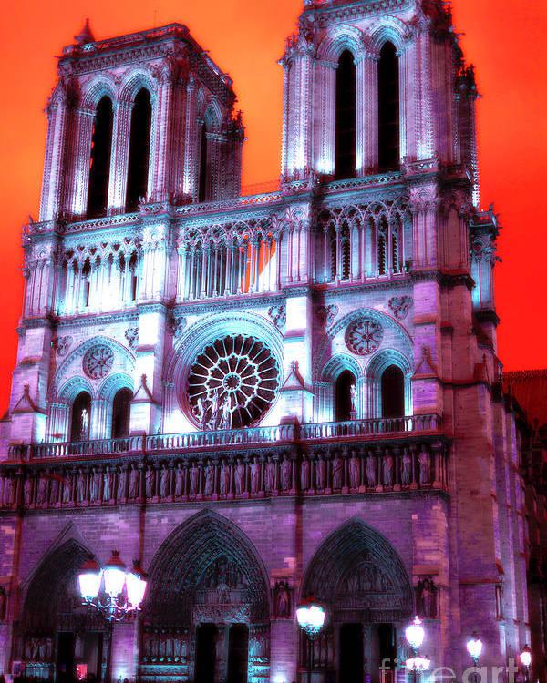 Notre Dame De Paris Pop Art Poster featuring the photograph Notre Dame De Paris Pop Art 2012 by John Rizzuto