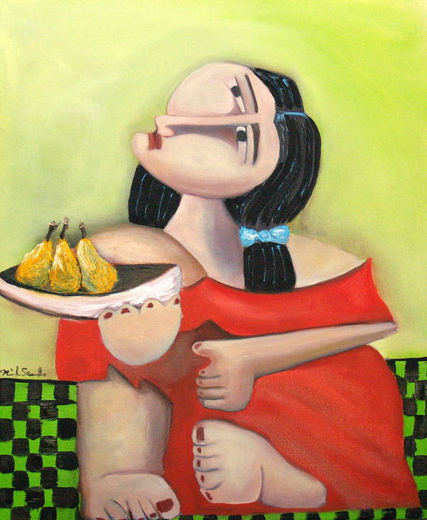Cubist Cubism Pears Fruit Feet Girl Green Lime Figurative Poster featuring the painting Nouna by Niki Sands