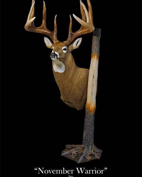 Whitetail Poster featuring the sculpture November Warrior by Marc Barger