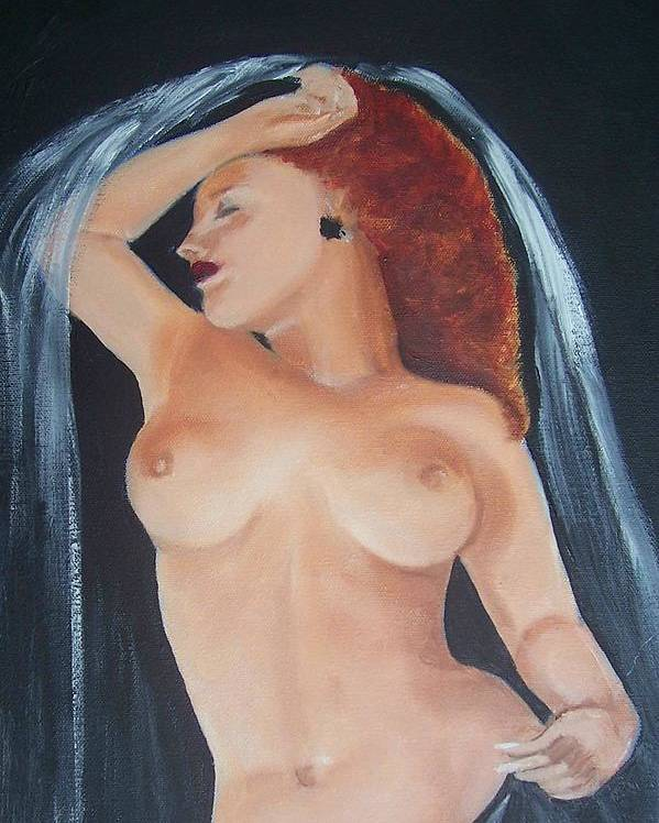 Nude Poster featuring the painting Nude Bride by Martha Mullins