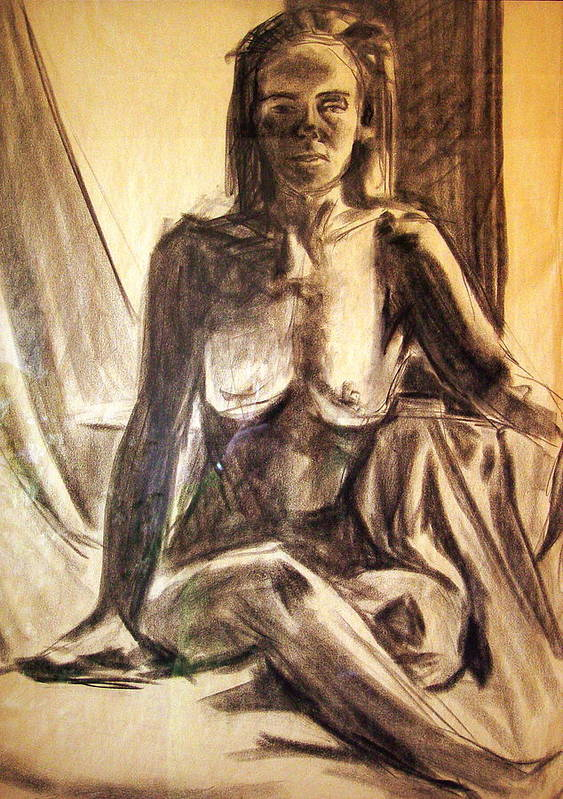 Nude Poster featuring the drawing Nude By The Window by Bonnie Peacher