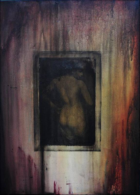 Abstract Poster featuring the painting Nude In Vintage by Lori King