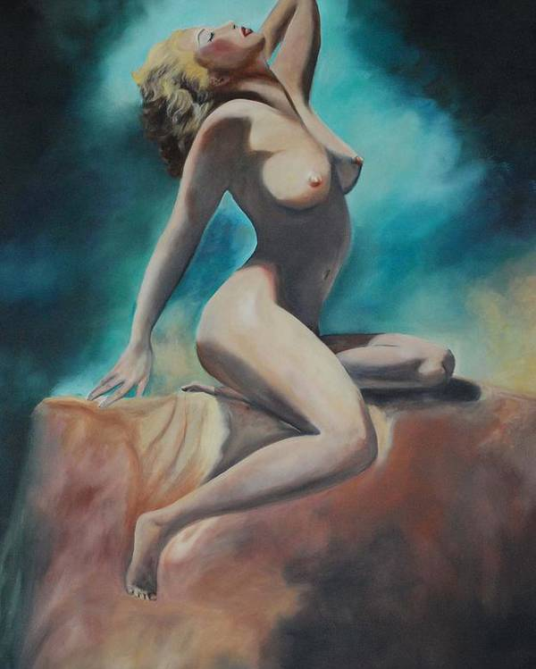 Nude Poster featuring the painting Nude by Margaret Fortunato