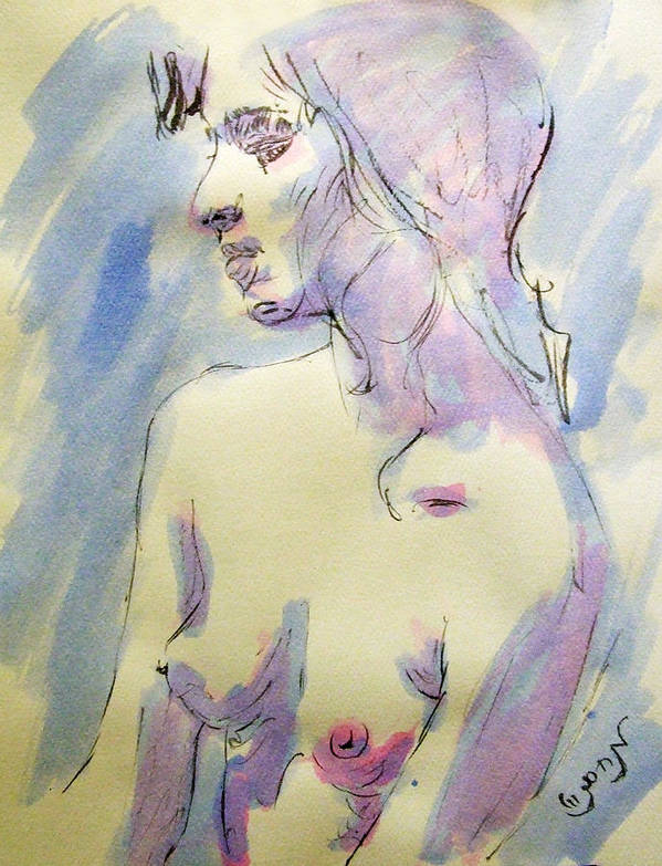 Woman Poster featuring the painting Nude Portrait Drawing Sketch Of Young Nude Woman Feeling Sensual Sexy And Lonely Watercolor Acrylic by M Zimmerman