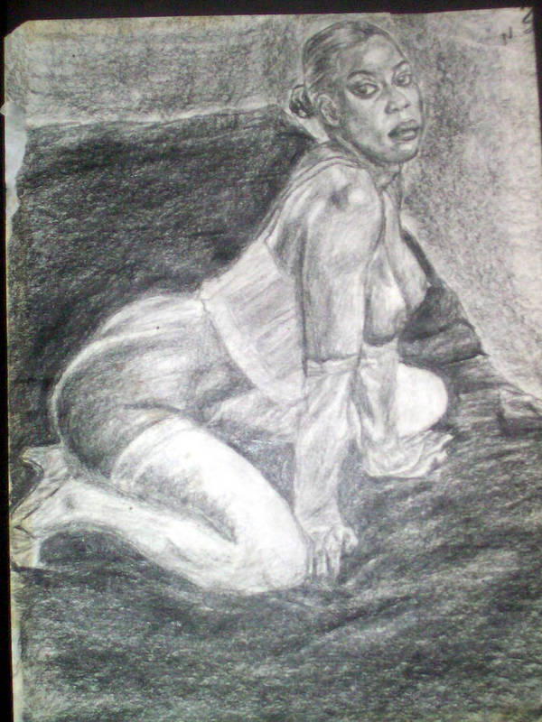 Figure Poster featuring the drawing Nude Study 1 by Norman Sparrow